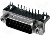 Connector D Sub male angled 7 2 mm standard PIN 15 THT 5A