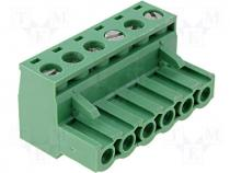 Pluggable terminal block plug female 2.5mm2 5.08mm on cable