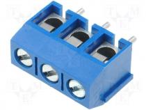 Terminal block angled 1.5mm2 5mm THT screw terminals ways 3