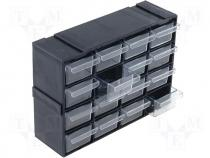 Set with drawers, 220x70x160mm, polypropylene, Module  black