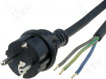 Cable CEE 7/7 (E/F) plug  wires rubber black 3m 3x1 5mm2 16A