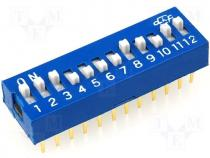 Switch DIP SWITCH Poles number 12 ON OFF 0.05A/12VDC 100mΩ