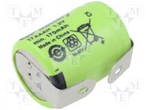 Rechargeable battery Ni-MH, 1/3AAA,1/3R03, 1.2V, 170mAh