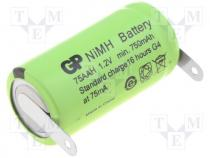 Rechargeable battery Ni-MH, 2/3AA,2/3R6, 1.2V, 750mAh