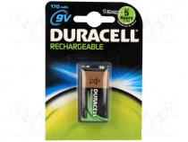 Rechargeable battery Ni-MH, 6F22, 9V, 170mAh
