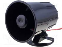Sound transducer siren, dynamic, 1 tone, 600mA, Ø 88mm, 12VDC