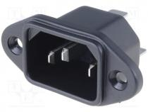 Connector AC supply, IEC 60320, C14 (E), socket, male, 10A, 250VAC