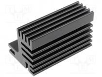 Heatsink extruded, TO220, black, L 50mm, W 30mm, H 31mm, 7.8K/W