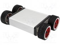 Robo.access  wheeled chassis, 74 1, silver, 187x120x53mm, 6VDC
