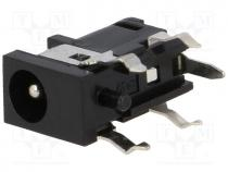 Socket, DC supply, male, 4/1,7mm, 4mm, 1.7mm, with on/off switch