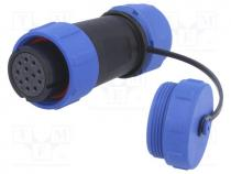 Plug, female, SP21, PIN 12, with protective cap, IP68, 7÷12mm, 400V