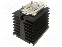 Heatsink  extruded, for one phase solid state relays, black