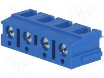 PCB terminal block, angled 90°, 7.5mm, ways 4, on PCBs, 2.5mm2