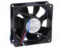 Fan  DC, axial, 80x80x25mm, 79m3/h, 37dBA, ball bearing, 3600rpm