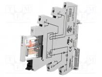 Relay  interface, SPDT, Ucoil 24VDC, 6A, 6A/250VAC, 6A/30VDC, 100mΩ