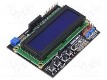 Module  shield, 5VDC, Interface  GPIO, LCD display, pin header