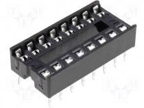 Socket for DIL ICs 16pin 7.62mm RM2.54mm