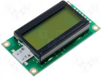 Display LCD alphanumeric 8x2 green 58x32x13.5mm