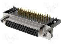 DMR44F-HD - Connector HD D Sub female angled PIN 44 THT UNC4 40