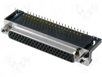 DMR62F-HD - Connector HD D Sub female angled PIN 62 THT UNC4 40