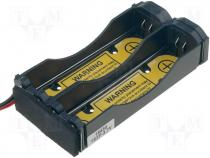 BAT.H-18650/2-3.7 - Holder Size MR18650 Batt.no 2 Colour black polypropylene