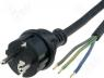Καλωδιώσεις - Cable CEE 7/7 (E/F) plug  wires rubber black 3m 3x1 5mm2 16A