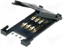 Card Connector - Connector for cards SIM SMD Plating gold plated PIN 6 500mA