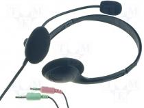 HEADSET-10 - Headphones with microphone wired  stereo black 20 20000kHz