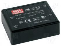 PM-05-5 - Pwr sup.unit pulse, 5W, 5VDC, 1A, 85÷264VAC, 120÷370VDC, 85g