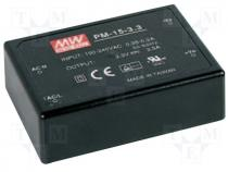 PM-15-12 - Pwr sup.unit pulse, 15W, 12VDC, 1.25A, 85÷264VAC, 120÷370VDC, 140g