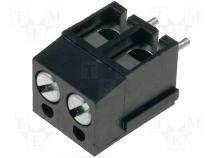 DG300-5.0-02P13 - Terminal block, angled 90°, 2.5mm2, 5mm, ways 2, tinned, 24A, black