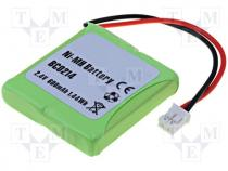 ACCU-E45/2.4V-600 - Rechargeable battery Ni-MH, 2.4V, 600mAh, Leads cables