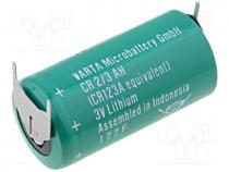 BAT-CR2/3AH-PCB - Battery lithium, 3V, 2/3A,2/3R23, 3pin, 1350mAh