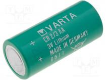 BAT-CR2/3AA/V - Battery lithium, 3V, 2/3AA,2/3R6, Ø14.8x33.5mm, 1350mAh