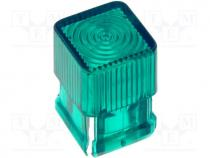 Φακός για LED - LED lens, square, green, 5mm