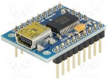 MR002-003.1 - Converter, USB-UART, 5VDC, 3Mbps, Connector type  USB B mini