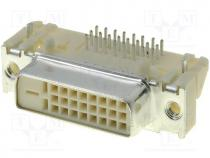 Connector  DVI-I, socket, PIN 29, gold flash, THT, angled 90°