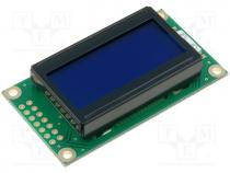 RC0802A-BIY-ESV - Display  LCD, alphanumeric, STN Negative, 8x2, blue, LED, PIN 14