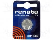 BAT-CR1616/RE-B - Battery  lithium, 3V, CR1616, Batt.no 1, Ø16x1.6mm, 50mAh