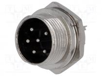 MIC336 - Socket, microphone, male, PIN 6, for panel mounting