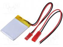 Μπαταρίες Li-Po - Re-battery  Li-Po, 3.7V, 250mAh, Leads  cables, 6x17x30mm