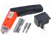 Battery powered screwdriver with light source