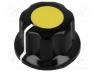 G19-YL - Knob, with flange, bakelite, Shaft d 6.35mm, Ø16.5x11mm, yellow