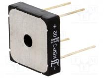 KBPC1002WP-DIO - Single phase rectifier bridge, Urmax 200V, If 10A, Ifsm 270A