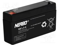 ACCU-HP1.3-6/NB - Re-battery  acid-lead, 6V, 1.3Ah, maintenance-free, AGM