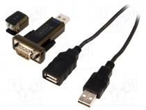 USB2.0-RS232 - Adapter USB-RS232, D-Sub 9pin plug, USB A plug, 0.8m, black