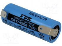 Μπαταρίες Λιθίου - Battery  lithium, 3V, 4/5A, CR8L, soldering lugs, Ø17x45.5mm