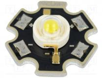 PM2B-1LWS - Power LED, STAR, white cold, Pmax 1W, 5000-5650K, 120-155lm, 130°