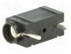 Banana Connector - Socket, 4mm banana, 10A, 250VDC, black, silver plated, PCB, 23.3mm