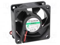 Fan  DC, axial, 24VDC, 60x60x25mm, 61.16m3/h, 36dBA, Vapo, 26AWG